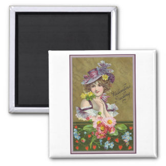 Valentine Greetings Woman with Purple Hat Square Magnet