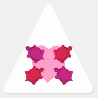Valentine Heart and Turtles Triangle Sticker