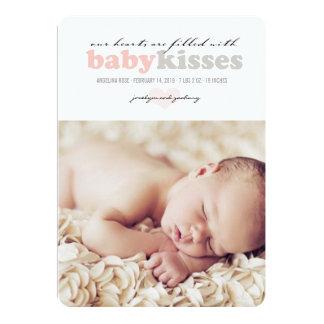 Valentine Heart Baby Girl Birth Announcement Card