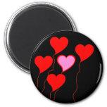 Valentine Heart Balloons 6 Cm Round Magnet