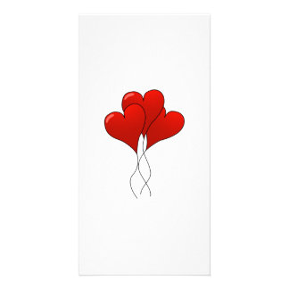 Valentine Heart Balloons Photo Card Template