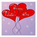 Valentine Heart Balloons Poster