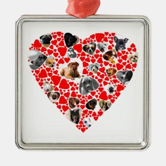 Valentine Heart Dog Photo Collage Silver-Colored Square Decoration