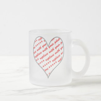 Valentine Heart Photo Frame Frosted Glass Mug