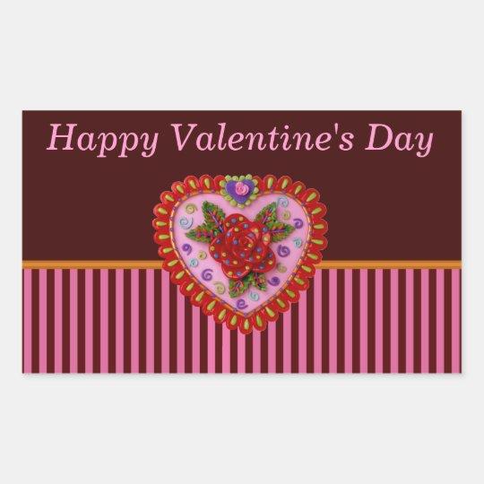 Valentine Heart Rectangular Sticker