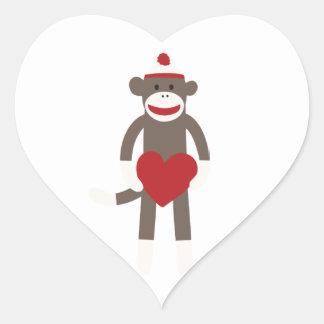 Valentine Heart Sock Monkey Heart Sticker
