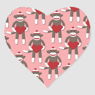 Valentine Heart Sock Monkey Print Heart Sticker
