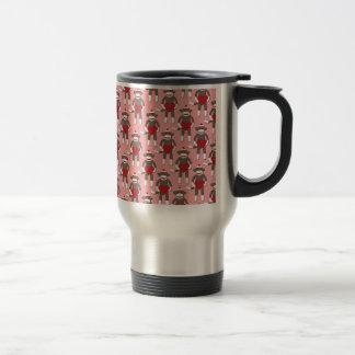 Valentine Heart Sock Monkey Print Travel Mug
