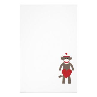 Valentine Heart Sock Monkey Stationery