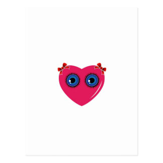 Valentine heart with blue eyes and bow postcard