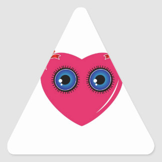 Valentine heart with blue eyes and bow triangle sticker