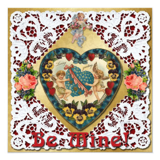 Valentine Heart with Lace - Vintage Victorian 13 Cm X 13 Cm Square Invitation Card