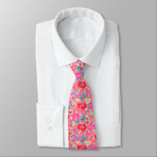 Valentine Hearts and Flowers Tie