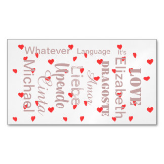 Valentine Hearts in pink and red Magnetic Business Card