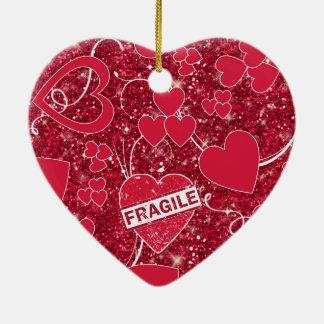 Valentine Hearts Pattern Fragile Glitter ID300 Ceramic Heart Decoration