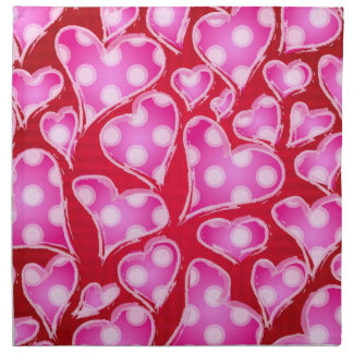 Valentine Hearts Pink and Red Cloth Napkin
