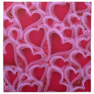 Valentine Hearts Pink and Red Printed Napkins