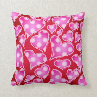 Valentine Hearts Pink and Red Throw Cushions