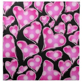 Valentine Hearts Pink on Black Cloth Napkins
