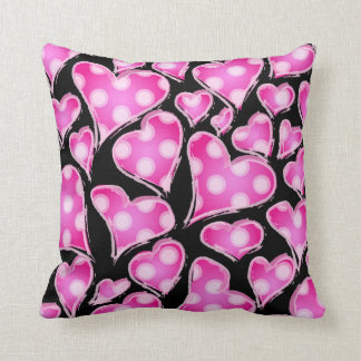 Valentine Hearts Pink on Black Pillows