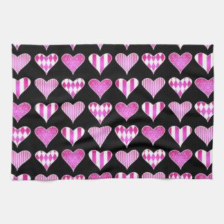 Valentine Hearts Pink on Black Towels