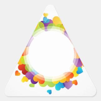 Valentine hearts triangle sticker