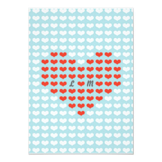 Valentine Hearts Wedding (Red + Sky Blue) 13 Cm X 18 Cm Invitation Card