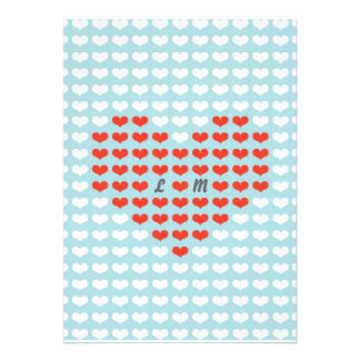 Valentine Hearts Wedding (Red + Sky Blue) Personalized Announcement