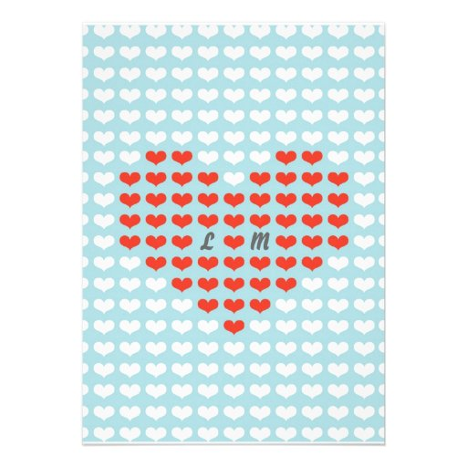 Valentine Hearts Wedding (Red + Sky Blue) Personalized Announcements
