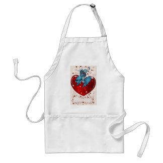 Valentine Hippo dancing on heart Aprons