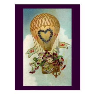 Valentine Hot Air Balloon Postcard