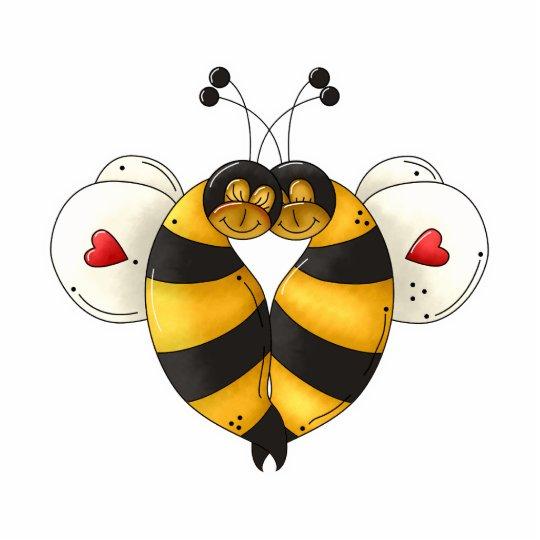 Valentine Hugging Bees in Love Photo Sculpture Decoration