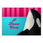 Valentine I love you orca whale Greeting Card