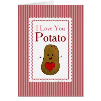 Valentine I Love You Potato, Pink Stripes Greeting Card