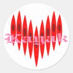 Valentine Kayak Hearts Classic Round Sticker
