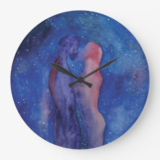 Valentine Kiss couple art Round (Large) Wall Clock