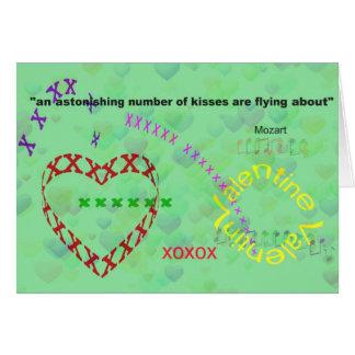 Valentine kisses card