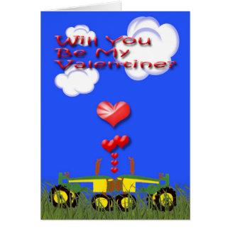 Valentine Kissing Green Tractors Card