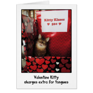 Valentine Kitty Kissing Booth Greeting Card