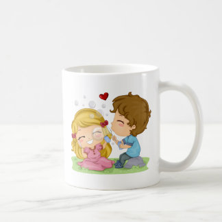 Valentine Lily Bubbles Basic White Mug