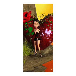 Valentine, Little girl with roses and heart 10 Cm X 24 Cm Invitation Card