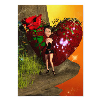Valentine, Little girl with roses and heart 13 Cm X 18 Cm Invitation Card