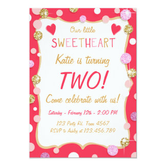 Valentine Little Sweetheart Birthday Invitation
