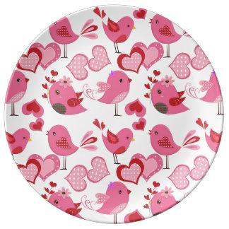 Valentine Love Birds Porcelain Plate