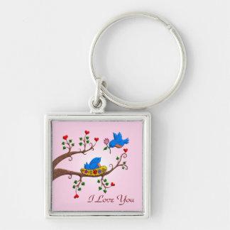 Valentine Love Birds Silver-Colored Square Key Ring