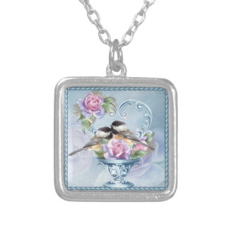 Valentine Love Birds Square Necklace