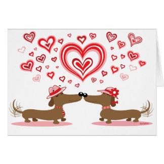 Valentine Love Dachshunds Greeting Card
