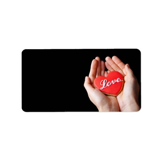 Valentine Love Heart Cookie In Woman Hands Address Label
