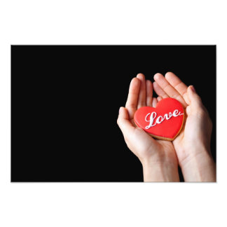 Valentine Love Heart Cookie In Woman Hands Photo Art