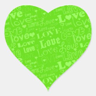 """Valentine """"Love"""" Sticker in Green"""
